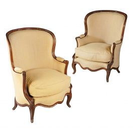 Overscale Pair of 19th Century Walnut Bergères with Linen Upholstery