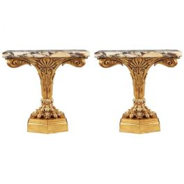 Pair Early 19th Century Italian Neoclassical Giltwood Console Tables