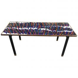 Mid-Century Modern Italian Coffee Table with Ceramic Top, 1960s