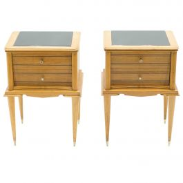 French Sycamore Nightstands 2 Drawers Attributed to Suzanne Guiguichon, 1950s