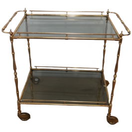 SMALL BRASS TROLLEY WITH TAINTED GLASS. CIRCA 1940