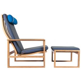 A Borge Mogensen Armchair & Stool 2254 in Oak, Danish 1950's