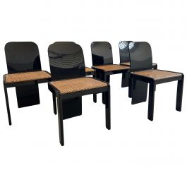 Mid-Century Modern Italian Set of 6 Black Wooden Chairs by Pozzi, 1970s