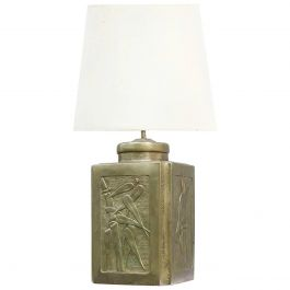 Arts & Crafts Lamp Base Artisan Embossed Pewter Bamboo Chinoiserie Panels