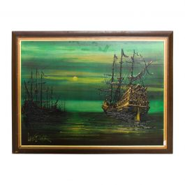 Lee Reynolds Burr, Ships At Sea Mystic Galleons Painting, Vanguard Studios LA