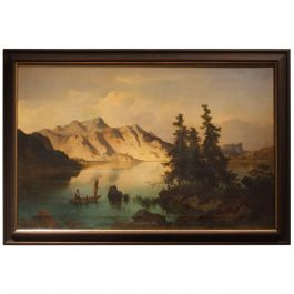 1869s Oil On Canvas Austrian Landscape With Lake And Mountains By J. Brunner