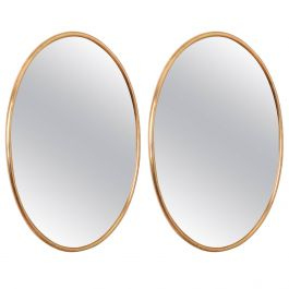 Two Matched Bronzed Glass With Brass Frame Mirrors C1969