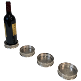SET OF 4 SILVER PLATED UNDER BOTTLES. FRENCH