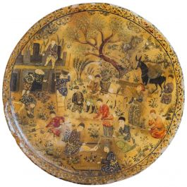 A Fine Indo-Persian Painted Alabaster Charger