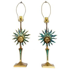 Pair of Sun Sculpture Table Lamps by Pepe Mendoza Brass and Malachite