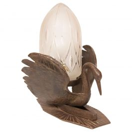 Art Deco Table Lamp Bronze in the Form of a Swan