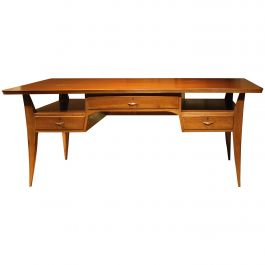 Art Deco French Mahogany Writing Table with Curved Legs and Gilt Bronze Handles