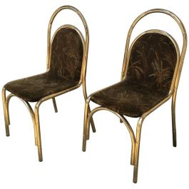 Italian Gilt Metal Faux Bamboo Chairs With Original Fabric From 1970s