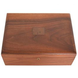 Mid-Century Modern Walnut Box with Copper Ornamentation