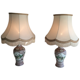 Pair Of Porcelain Lamps With Chinese Scenes. Circa