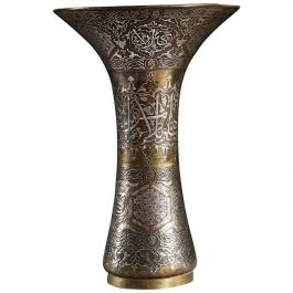 Mid-19th Century Ottoman Trumpet Vase in Silver, Copper and Brass