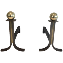 Pair Of Modernist Brushed Steel And Brass Andirons