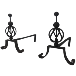 JEAN ROYERE STYLE. PAIR OF WROUGHT IRON ANDIRONS
