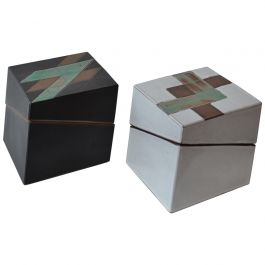 Pair of Square Studio Pottery Boxes in Black and White and Geometric Pattern