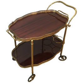 Neoclassical Style Brass & Mahogany Drinks Trolley