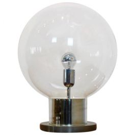 Iconic RAAK Amsterdam Extra Large Globe Chrome and Glass Table Lamp