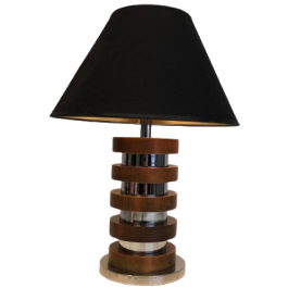 Wood And Chrome Circles Design Table Lamp. French