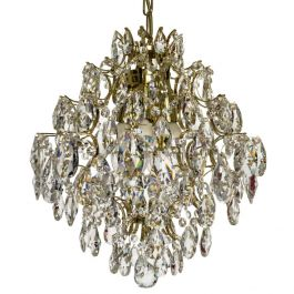 Modern Style Crystal Chandelier: Polished brass and crystal (30cm/15 inches)