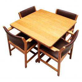 Vintage Danish Mid-Century Modern Dining Table and Chairs by Børge Mogensen
