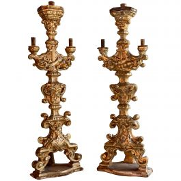 Antique 18th Century Carved Baroque Candlesticks Silvered Giltwood, circa 1750