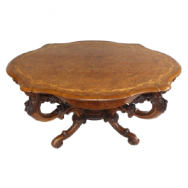 Victorian Burr Walnut & Marquetry Table