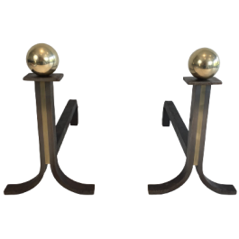 Pair Of Modernist Steel, Iron And Brass Andirons