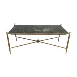 1940s Bronze and Brass Coffee Table with Green Marble Top by Maison Bagués