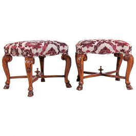 Pair of 18th Century Carved Walnut Stools