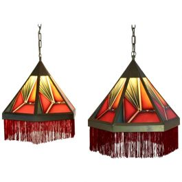 Stunning Pair of Amsterdamse School Stained Glass Art Deco Pedant Lights