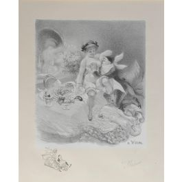 Adolphe WilletteAdolphe Willette Lithograph Original Hand Signed Seven Deadly Sins Erotic Nudec1917
