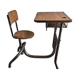 1900s Industrial Steel and Wood Children Desk
