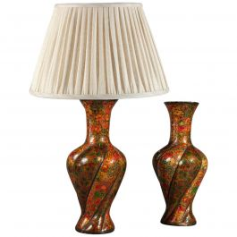 Pair of 20th Century Kashmiri Lacquer Vases as Table Lamps