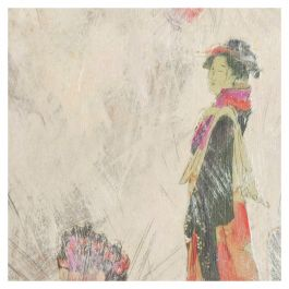 Mixed-Media Art, Lovely Japanese Woman Pink Butterflies, Signed Painting