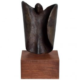 Mid-Century Modern Abstract Bronze Art Sculpture on Walnut