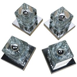 Set of Four Chromed Glass Cubic Wall Lights Sconces Peill & Putzler, Germany