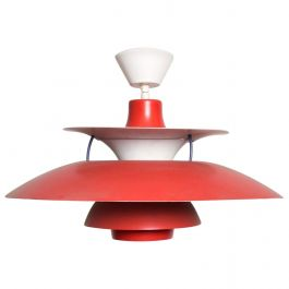 Poul Henningsen PH5 Red Pendant Light Lamp Louis Poulsen Mid-Century Modern