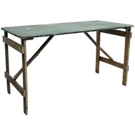 1930's Trestle Table with Original Paint Green Cream