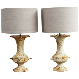 Two Pairs of 19th C Cast Iron Urn Table Light Lamps