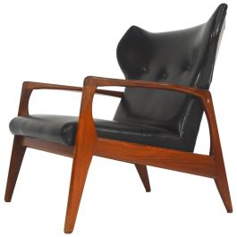 Amazing Scandinavian Wingback Lounge Chair, 1950s