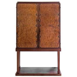 A RARE ART DECO ROSEWOOD AND BURR ELM VENEERED CABINET ON STAND BY VICTOR COURTRAY (1896 - 1987)