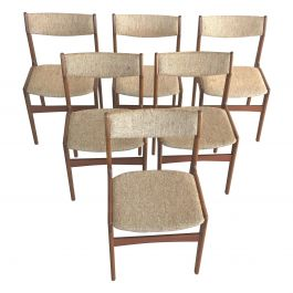1960s Erik Buch Set of Six Danish Teak Dining Chairs Inc. Reupholstery
