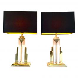 Pair Of Art Deco Style Lucite And Brass Skyscraper Lamps With Bespoke Shades