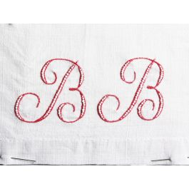 BB 30cm Square Cushion - Antique French Monogram BB on Linen P3017