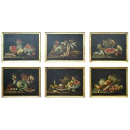 Complete Series of Six Late 18th Century Spanish Still Life Oil Paintings