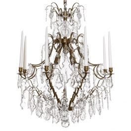 Baroque Crystal Chandelier: Brass with 8 arms & pendeloque crystals